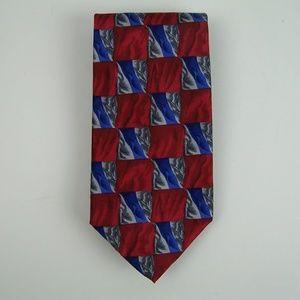Jerry Garcia Neck Tie Reds Blue Grays Geometric